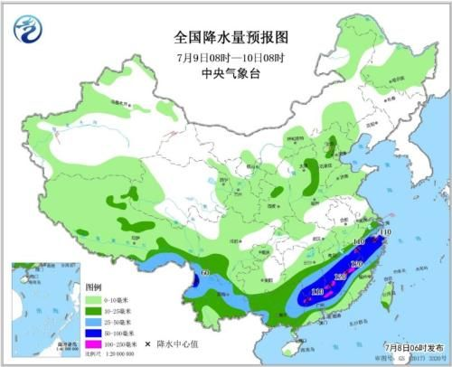 全国降水量预报图(7月9日08时-10日08时)
