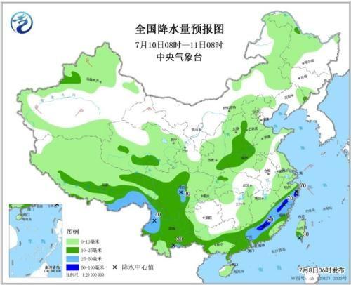 全国降水量预报图(7月10日08时-11日08时)