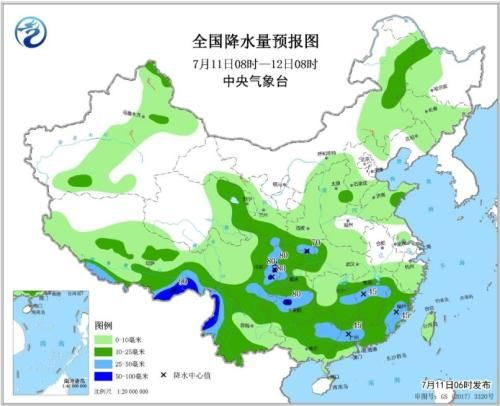 全国降水量预报图(7月11日08时-12日08时)