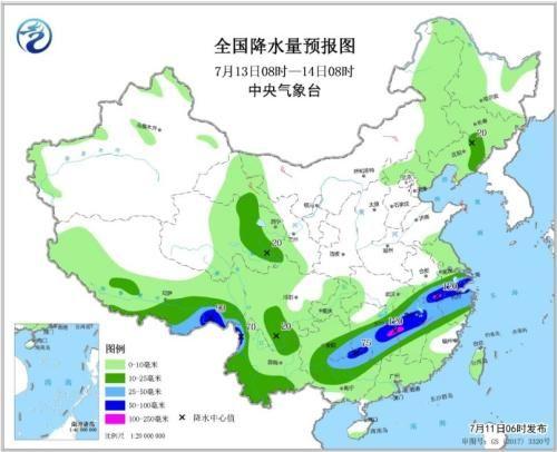 全国降水量预报图(7月13日08时-14日08时)