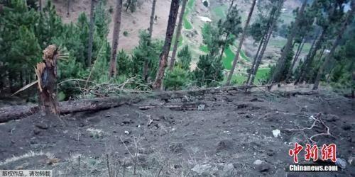 """资料图:当地时间2019年2月27日,巴基斯坦军方证实,在巴控克什米尔地区击落了""""侵犯巴方领空""""的2架印度军机。图为巴基斯坦方面发布的印度空袭后巴拉科特地区树木受损情况。"""