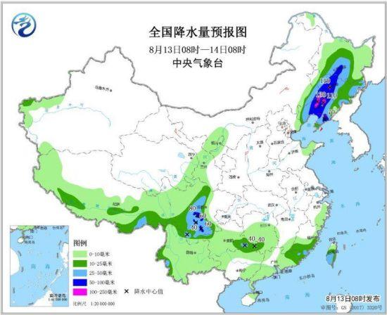 图4 全国降水量预报图(8月13日08时-14日08时)