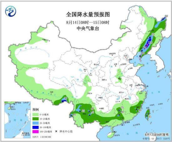 图5 全国降水量预报图(8月14日08时-15日08时)