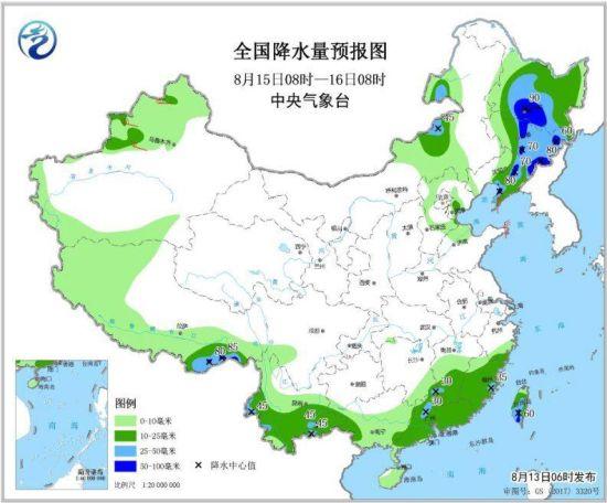 图6 全国降水量预报图(8月15日08时-16日08时)