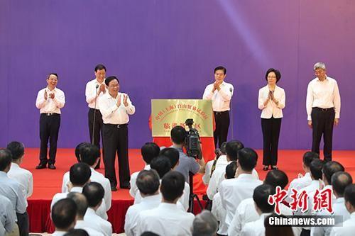 图为上海市委书记李强为临港新片区揭牌。中新社记者 张亨伟 摄