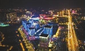 夜晚,武汉开发区灯光辉煌