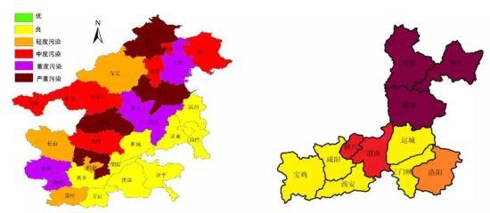 """2019年10月28日8时""""2+26""""城市和汾渭平原PM10污染等级 图片来源:国家大气污染防治攻关联合中心微信公众号"""