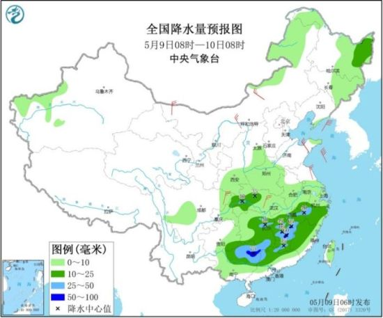 图1 全国降水量预报图(5月9日08时-10日08时)