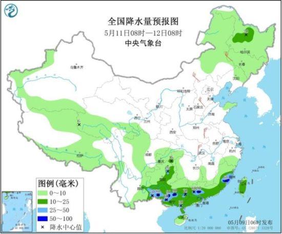 图3 全国降水量预报图(5月11日08时-12日08时)