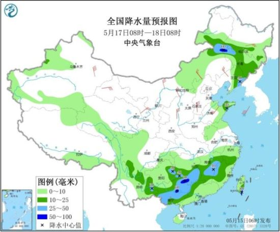 全国降水量预报图(5月17日08时-18日08时)