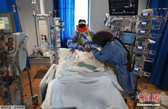 资料图:图为英国重症监护室内,医护人员在照顾新冠病毒感染者。