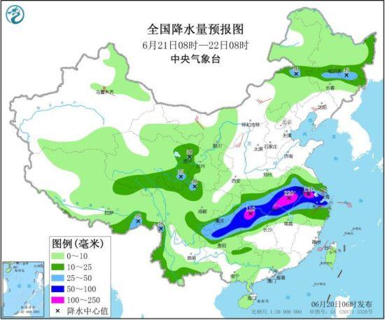全国降水量预报图(6月21日08时-22日08时) 来源:中央气象台网站
