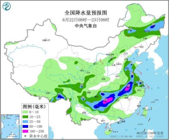 全国降水量预报图(6月22日08时-23日08时) 来源:中央气象台网站