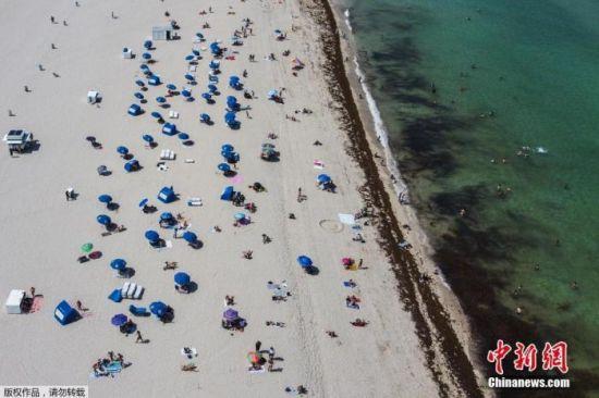 当地时间6月10日,佛罗里达州迈阿密海滩关闭近三个月后首次开放,游客众多。