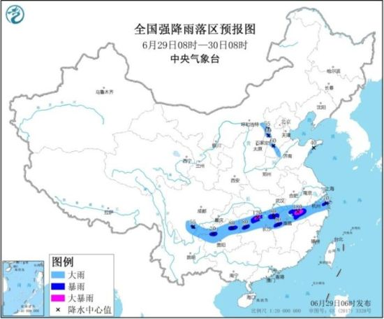 全国强降雨落区预报图(6月29日08时-30日08时)
