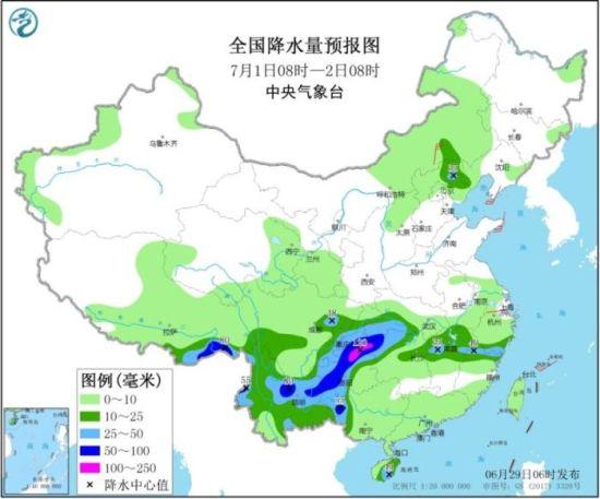 全国降水量预报图(7月1日08时-2日08时)