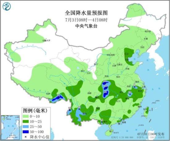 全国降水量预报图(7月3日08时-4日08时)