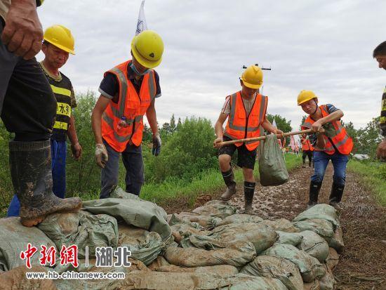 中交二航局组织抢险力量对朱家河沿岸河堤进行加固加高 殷进猛 摄