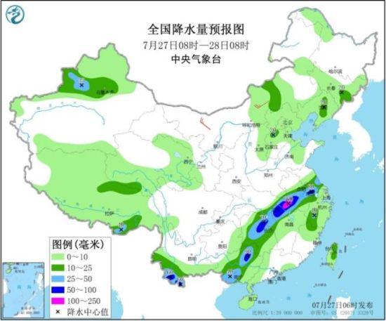 图2 全国降水量预报图(7月27日08时-28日08时)