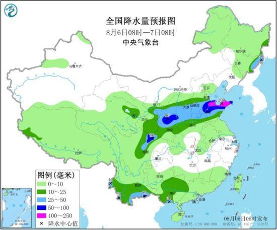 图2 全国降水量预报图(8月6日08时-7日08时)
