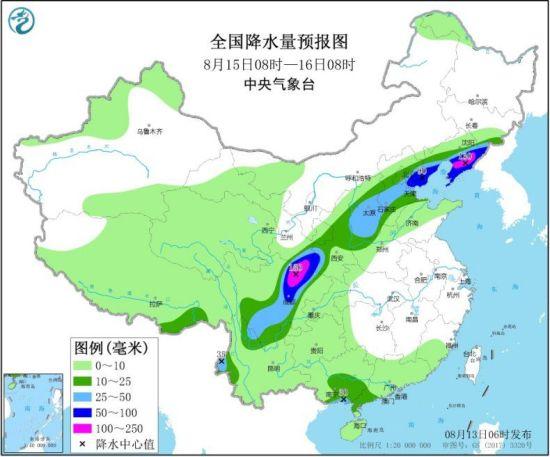 全国降水量预报图(8月15日08时-16日08时)