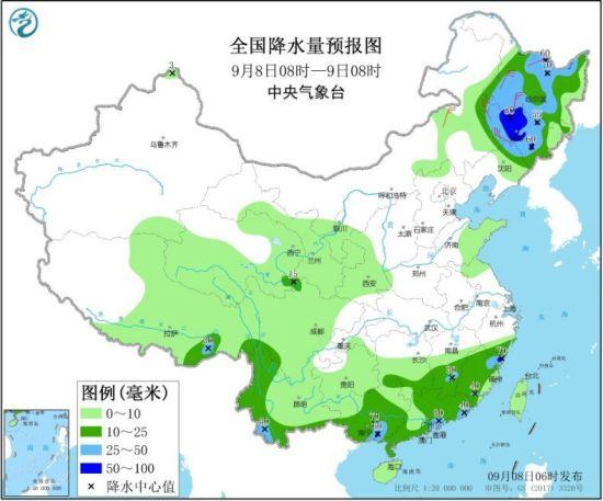 全国降水量预报图(9月8日08时-9日08时)