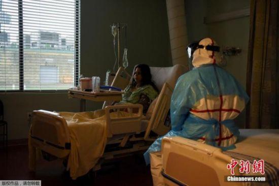 图为疫情下,美国联合纪念医疗中心的一个病房。