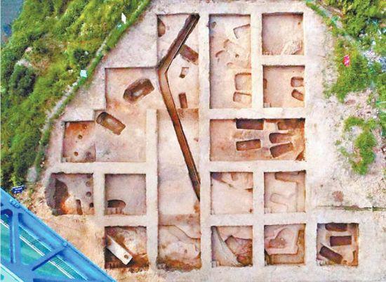 鸟瞰黄陂鲁台山郭元咀遗址发掘区。照片均由湖北省文物考古研究所提供