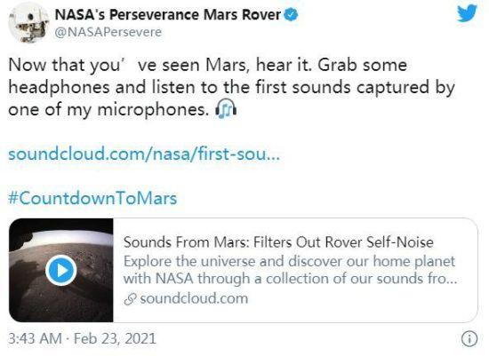 """图为NASA在社交媒体上发布了关于""""火星声音""""的音频记录。图片来源:NASA""""毅力号""""火星车社交媒体截图。"""