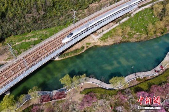 """资料图:""""和谐号""""高铁驶过春意盎然的合肥匡河公园。 张娅子 摄"""