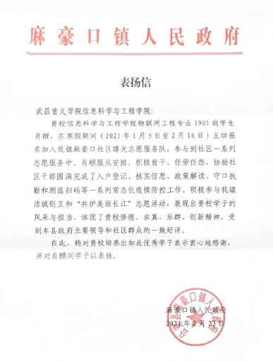 [中新网]武昌首义学院大学生寒假参加志愿服务获赞