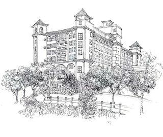 大二女生手绘校园建筑