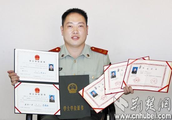 防战士成最牛自考生8年拿了3个文凭硕士在读